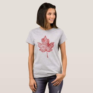 Red Maple Leaf Skeleton Shirt