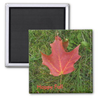 Red Maple Leaf Square Magnet