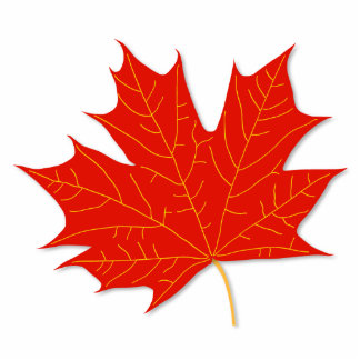 Red maple leaf standing photo sculpture