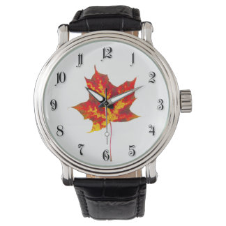 Red maple leaf wristwatch