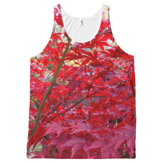 Red Maple Leaves All-Over-Print Tank Top