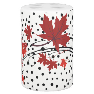 Red maple leaves and black dots fall modern soap dispenser and toothbrush holder