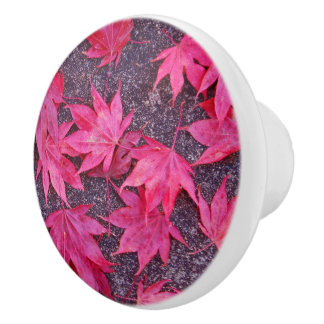 Red Maple Leaves Ceramic Knob