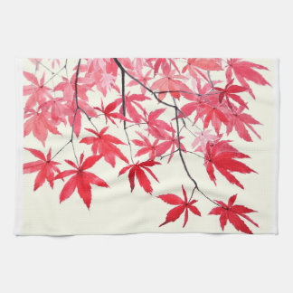 red maple leaves kitchen towel