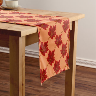 Red Maple Leaves Monogram Table Runner
