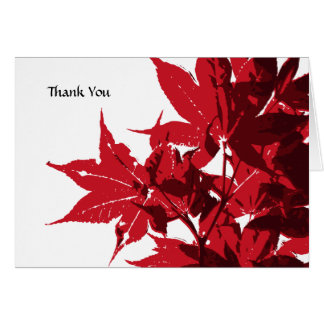 Red Maple Leaves Thank You Card