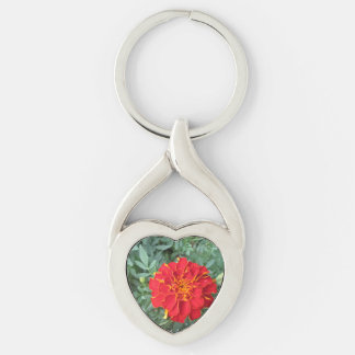 Red Marigold Flower Silver-Colored Twisted Heart Keychain