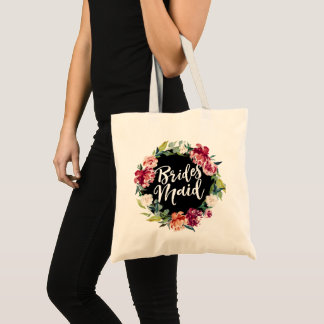 Red Maroon Burgundy Floral Wreath Bridesmaid Tote Bag
