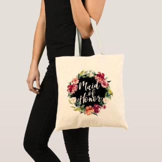 Red Maroon Burgundy Floral Wreath Maid of Honor Tote Bag