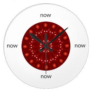 "Red Maroon Kaleidoscope Mandala ""Now"" Large Clock"