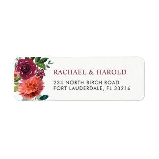 Red Marsala Burgundy Botanical Floral