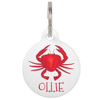 Red Maryland Crab Crabs Personalized Pet Dog Tag