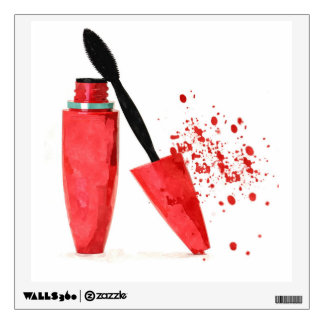 Red mascara makeup beauty watercolor wall sticker