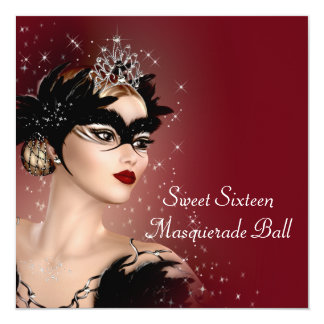 """Red Mask Sweet 16 Masquerade Party 5.25"""" Square Invitation Card"""