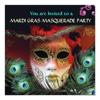 "RED MASK WITH  PEACOCK FEATHERS MASQUERADE PARTY 5.25"" SQUARE INVITATION CARD"