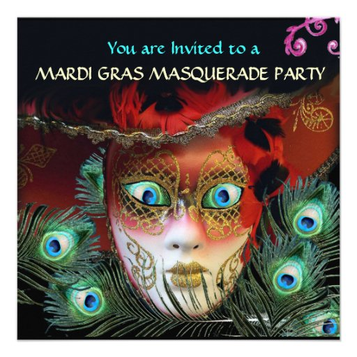 RED MASK WITH  PEACOCK FEATHERS MASQUERADE PARTY PERSONALIZED INVITATIONS