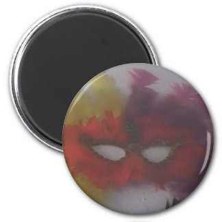 red mask with yellow feathers 3 magnet