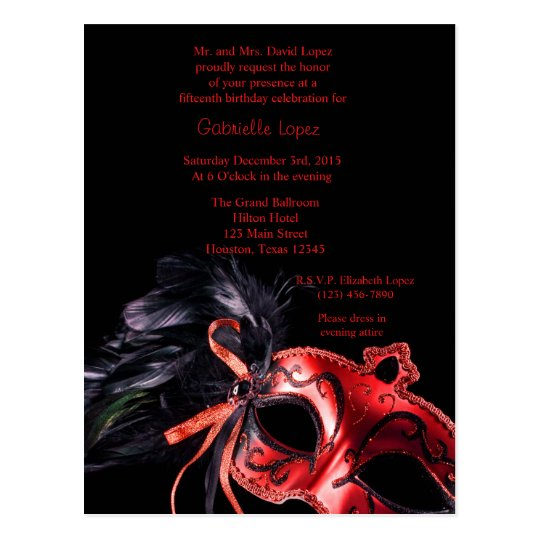 Red Masquerade Ball Quinceanera 15 Birthday Postcard