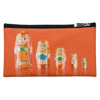 Red Matryoshka Russian Dolls Cosmetic Bag