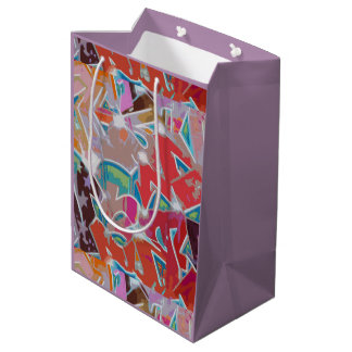 Red Mauve Graffiti Design Gift Bag