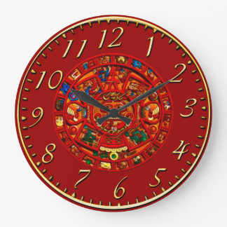 Red Mayan Sun Disk Aztec History Clock