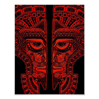 Red Mayan Twins Mask Illusion on Black Poster