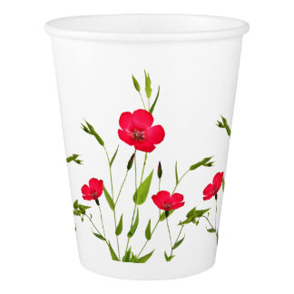 red meadow flowers paper cup