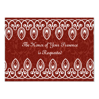 Red Medieval Brocade Wedding Invitation