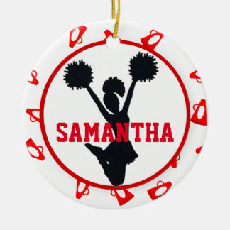 Red Megaphones and Cheerleader Personalized Round Ceramic Ornament