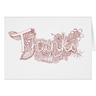 Red Mehndi Art Thank You Card