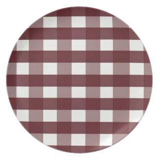 Red Melamine Christmas Plates Cranberry Plaid