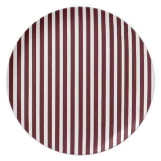 Red Melamine Christmas Plates Cranberry Stripes