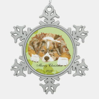 Red Merle Aussie Puppy on Green Leaves Snowflake Pewter Christmas Ornament