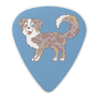 Red Merle Australian Shepherd Dog Acetal Guitar Pick