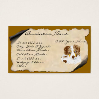 Red Merle Australian Shepherd on Parchment Business Card