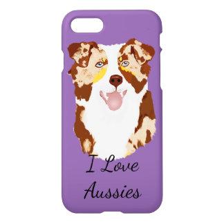Red Merle Australian Shepherd on Purple iPhone 7 Case