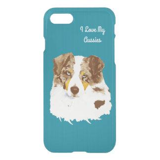 Red Merle Australian Shepherd on Teal iPhone 7 Case