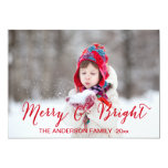 "Red Merry and Bright | Holiday Photo Card 5"" X 7"" Invitation Card"
