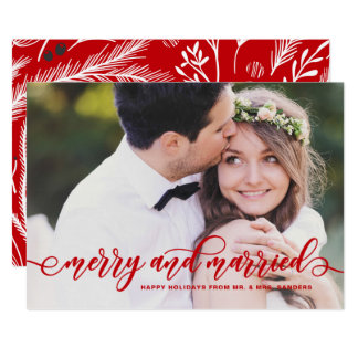 Red Merry and Married Modern Calligraphy Holiday Card