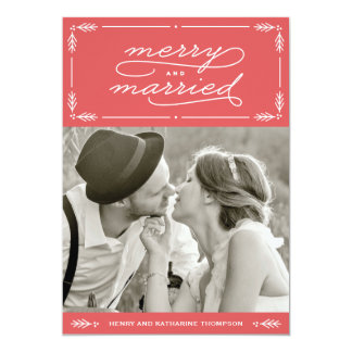 Red Merry and Married Newlywed Holiday Photo Card