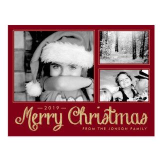 Red Merry Christmas 3 Photo Modern Postcard