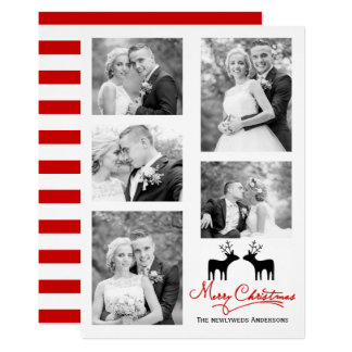 red Merry Christmas deer newlyweds photo collage Card