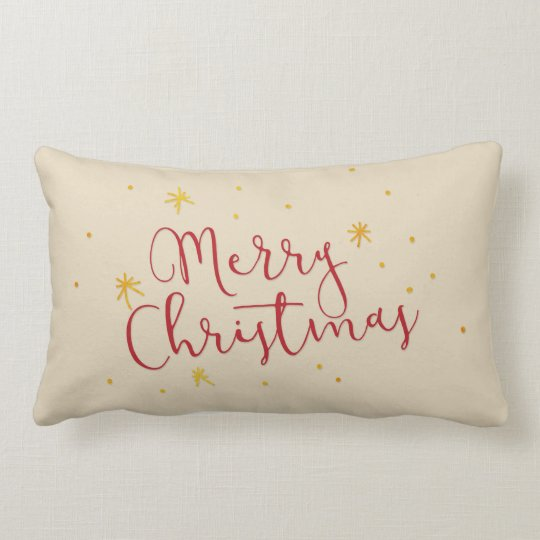 Red Merry Christmas Hand Lettered Script Gold Star Lumbar Pillow