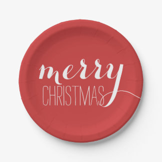 Red Merry Christmas   Holiday Paper Plate
