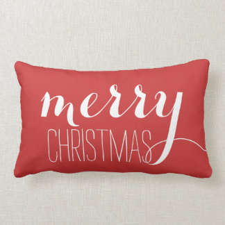 Red Merry Christmas | Holiday Throw Lumbar Pillow