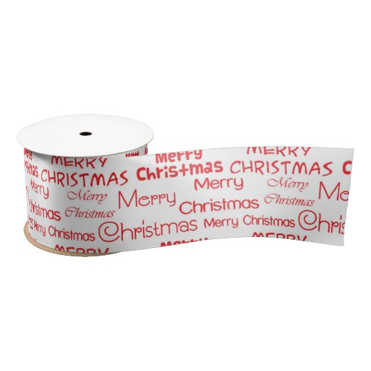 Red Merry Christmas on a white background Satin Ribbon