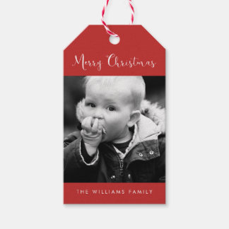 """Red """"Merry Christmas"""" Photo Holiday Gift Tags"""