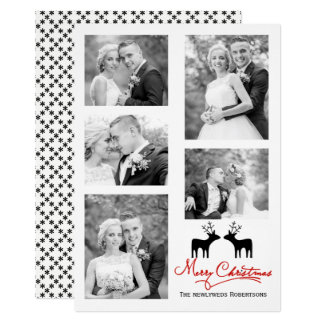 Red Merry Christmas script newlyweds photo collage Card