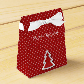 Red Merry Christmas Tree & Dots Tent Favor Box
