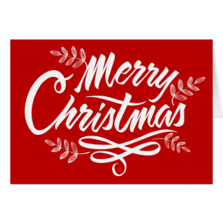 Red Merry Christmas Typography Holiday Card